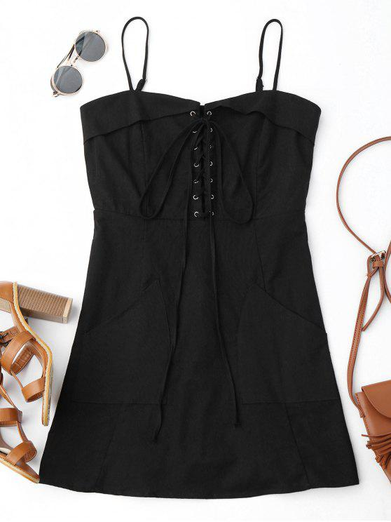 online Lace Up Slip Mini Dress with Two Pockets - BLACK S