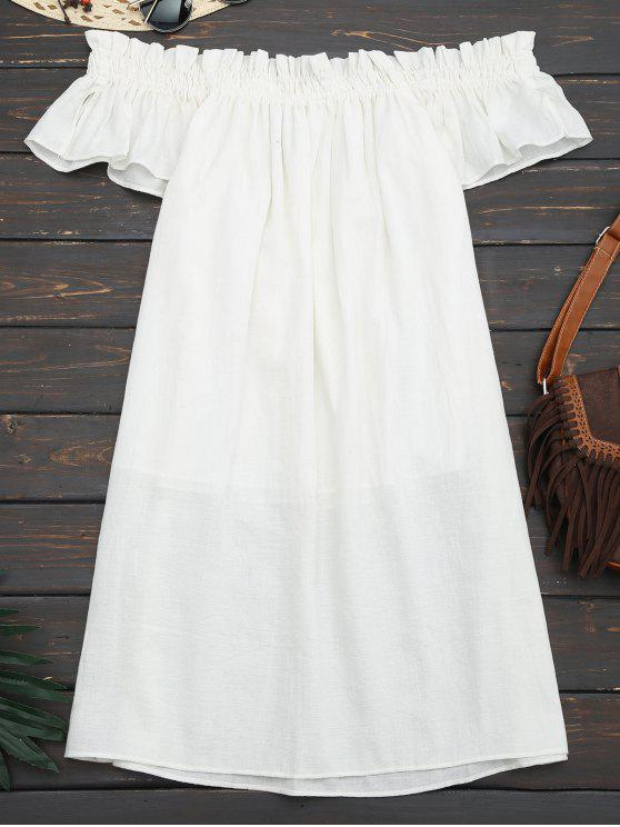 فستان مصغر عادي كشكش بلا اكتاف - أبيض M