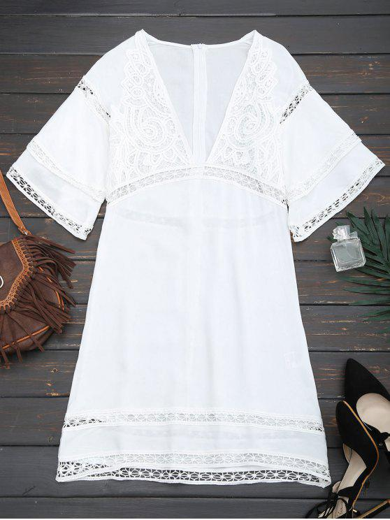 shop Crochet Plunge Beach Kaftan Cover Up - WHITE M