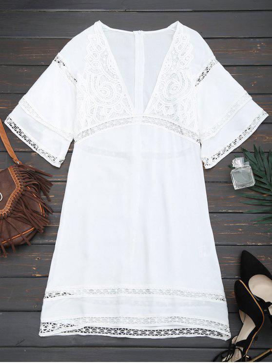 shop Crochet Plunge Beach Kaftan Cover Up - WHITE M