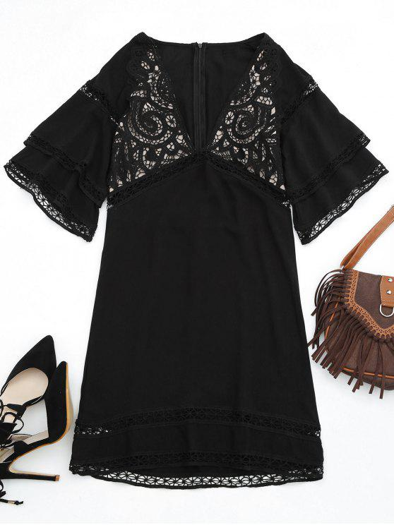 trendy Crochet Plunge Beach Kaftan Cover Up - BLACK M