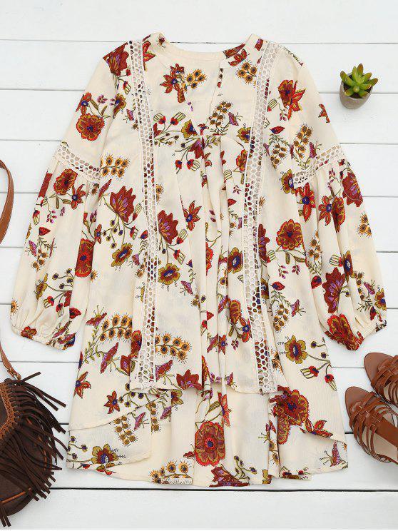 sale Floral High-Low Mini Tunic Dress - BEIGE S