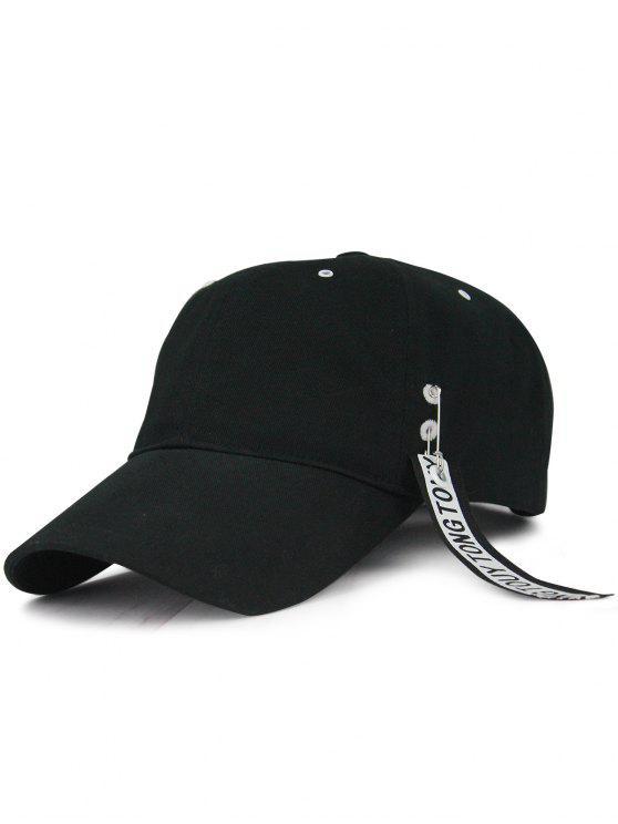 sale Streamer Letters Circle Ring Embellished Baseball Hat - BLACK