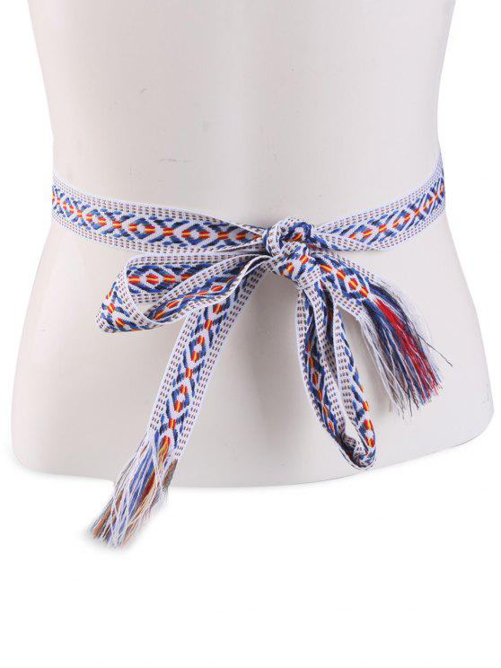 hot Ethnic Retro Woven Fringed Waist Strap - BLUE STRIPE