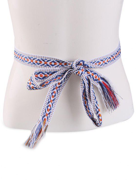 Ceinture frangée en tricot avec broderie de motif tribal à style vintage - Bande Bleu