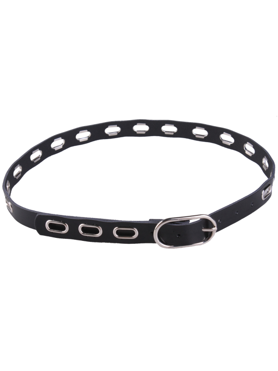 ladies Hollow Out Metal Oval Hole Waist Belt - BLACK