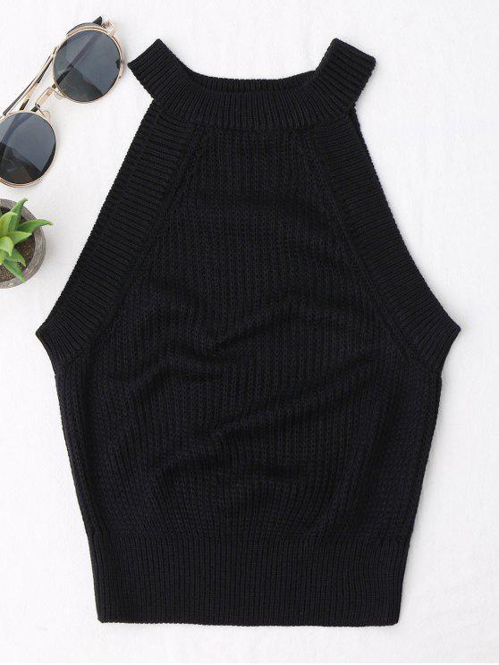 best Knitting High Neck Tank Top - BLACK S