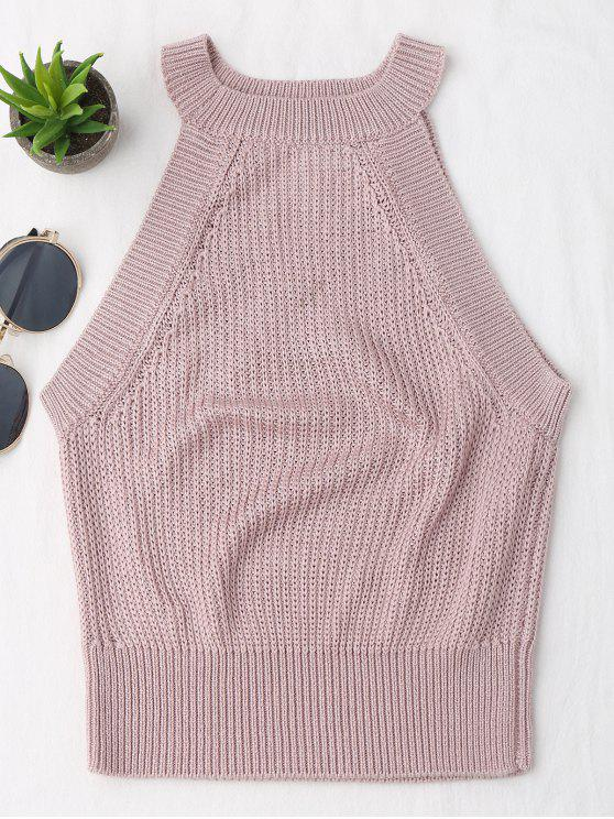 outfit Knitting High Neck Tank Top - PINK L