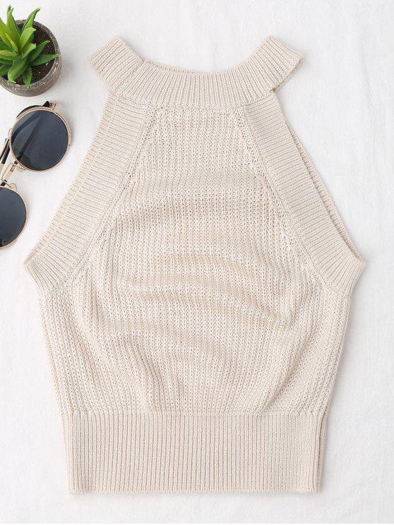 trendy Knitting High Neck Tank Top - OFF-WHITE S