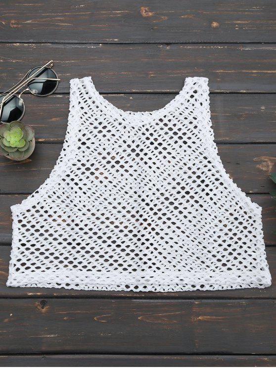 buy Cropped Fishnet Cut Out Tank Top - WHITE ONE SIZE