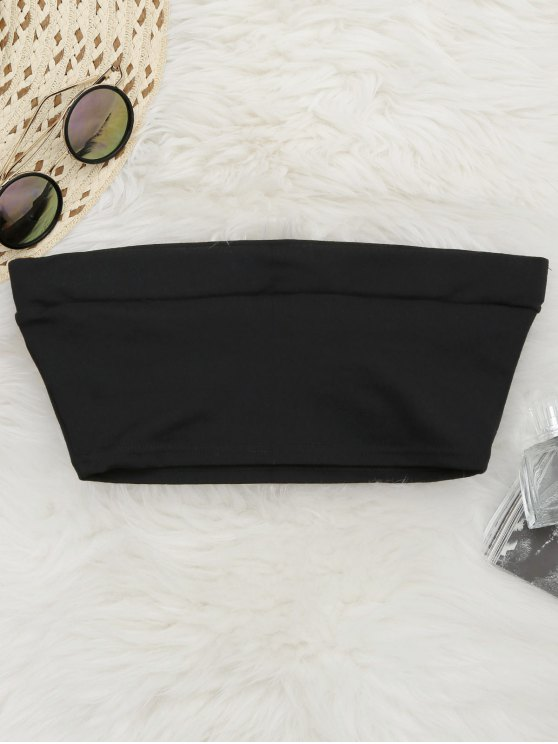 women's Elastic Cotton Tube Top - BLACK S
