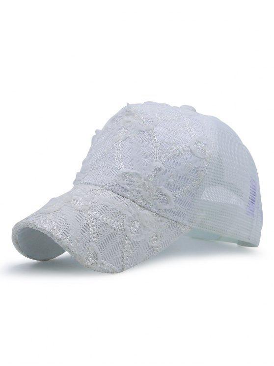 Chapéu de basebol enrugado do laço do laço do Sequin - Branco