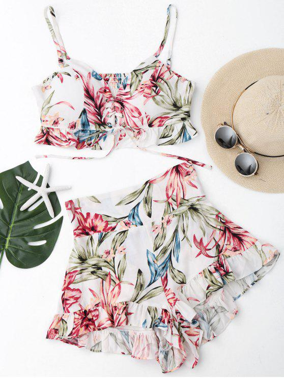 Ruffles Floral Shirred Lace Up Top con pantalones cortos - Blanco L