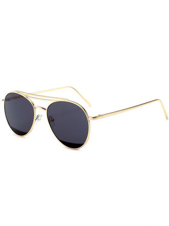 shop Double Metal Crossbar Anti UV Pilot Sunglasses - BLACK GREY