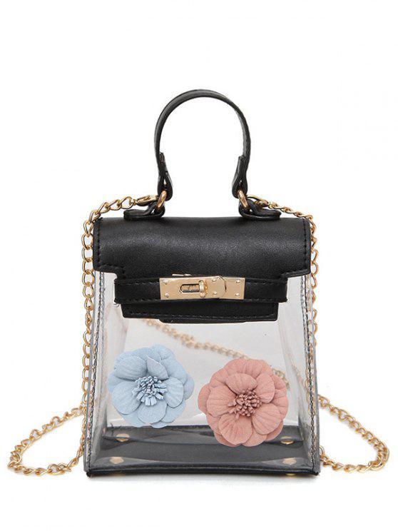 fashion Mini Flower Crossbody Clear Handbag - BLACK