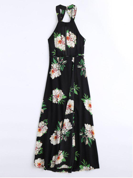 فستان طباعة الأزهار عالية الشق عارية الظهر ماكسي - أسود S