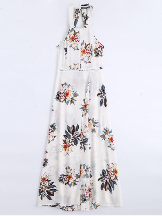 lady Floral Print High Slit Backless Maxi Dress - WHITE M