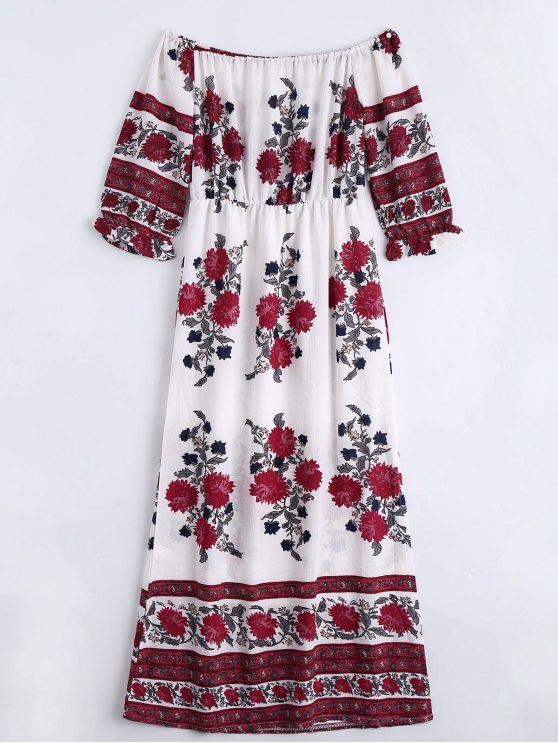 Robe Imprimée Florale Épaules Dénudées avec Fente - Floral L