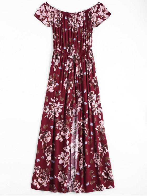 فستان طباعة الأزهار بلا اكتاف غير متماثل - نبيذ أحمر L