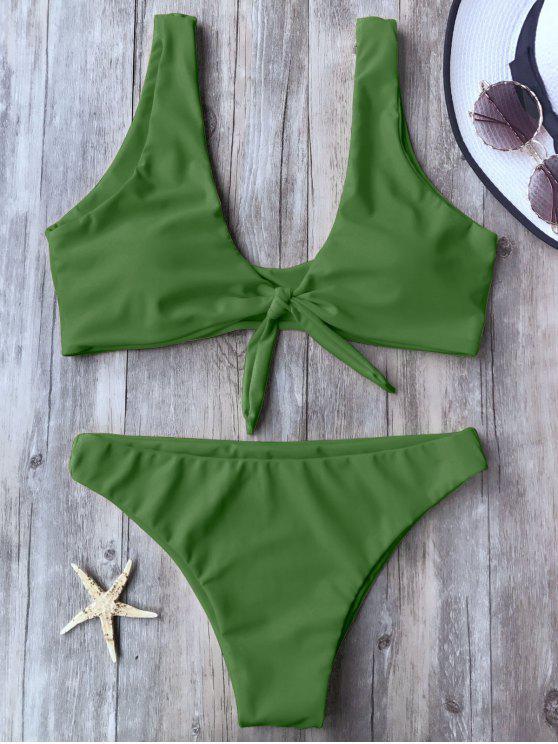 Haut et bas de bikini col bas avec nœud - Vert L