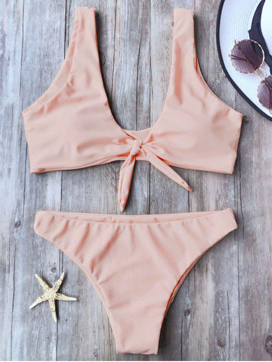 trendy Knotted Scoop Bikini Top and Bottoms - PINK M