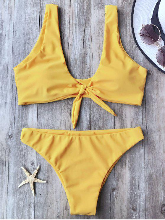 fancy Knotted Scoop Bikini Top and Bottoms - YELLOW M