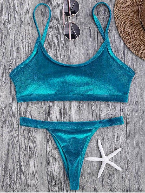 Traje de Bikini con Aros con Thong en V - Pavo Real Azul L