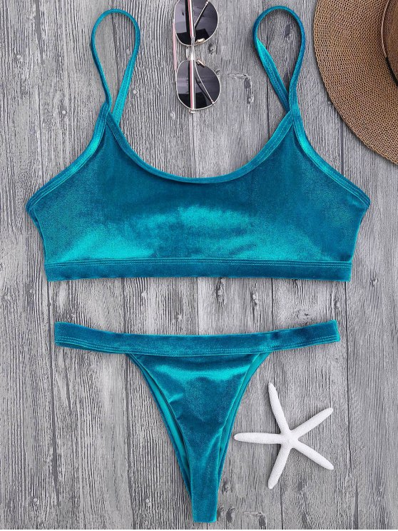 Traje de Bikini con Aros con Thong en V - Pavo Real Azul S