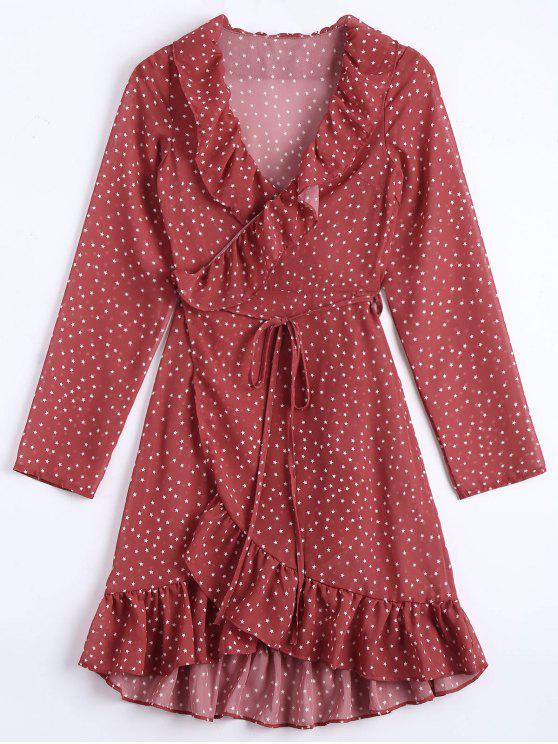 Star Print Ruffle Hem Wrap Dress - Dark Red S