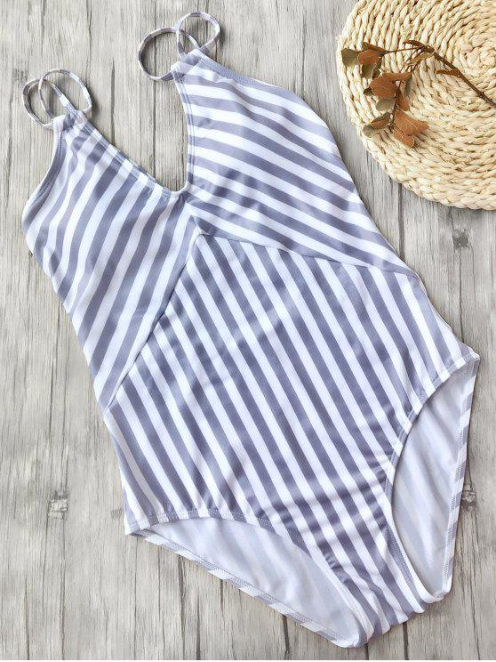 trendy Slimming Striped Strappy One Piece Swimsuit - WHITE AND PURPLE L