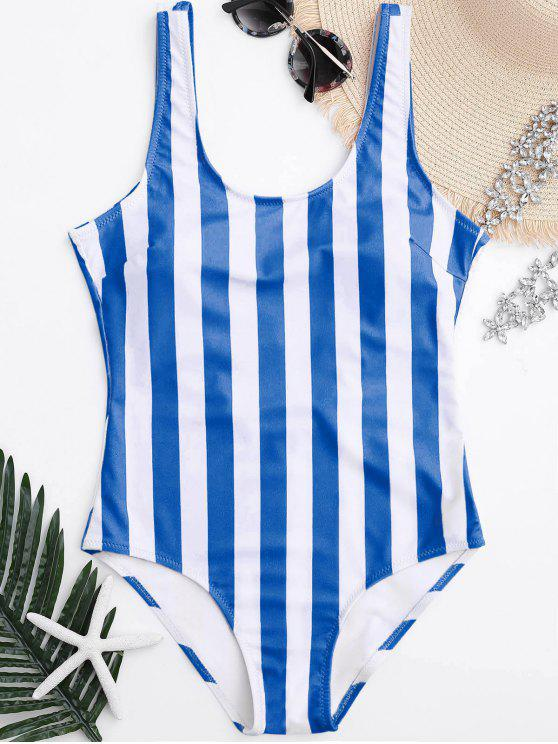 new Striped Shaping Padded One Piece Swimsuit - BLUE AND WHITE M