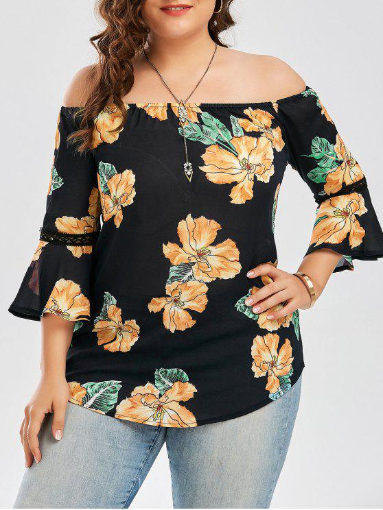 بلوزة الحجم الكبير شيفون بلا اكتاف طباعة الأزهار هاواي - أسود 5XL