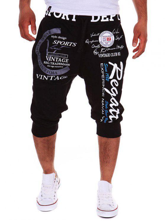 سروال جوغر قصير مزين بطبعة - أسود 2XL