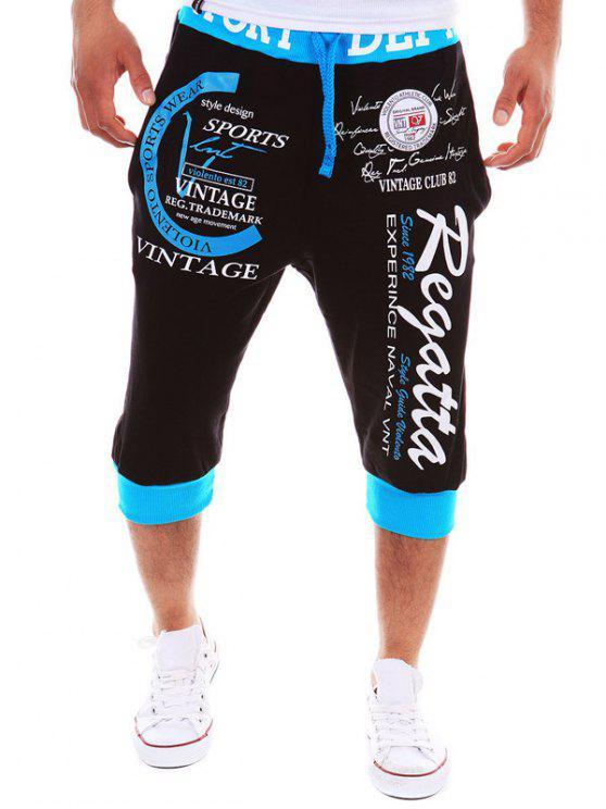 سروال جوغر قصير مزين بطبعة - الأزرق والأسود M