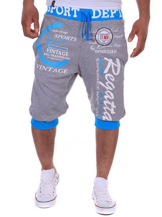 سروال جوغر قصير مزين بطبعة - رمادي فاتح XL