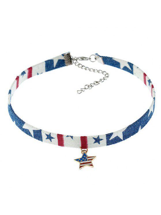 الوطني الأمريكي العلم ستار المختنق قلادة - ازرق