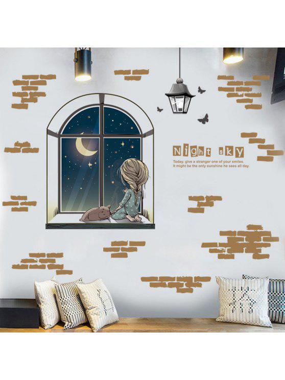 ليلة السماء تحت عنوان نوم جدار ديكور ملصق - BROWN 60 * 90CM
