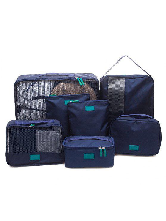 fashion Waterproof Travel Storage 7 Piece Luggage Organizer Bags - CADETBLUE