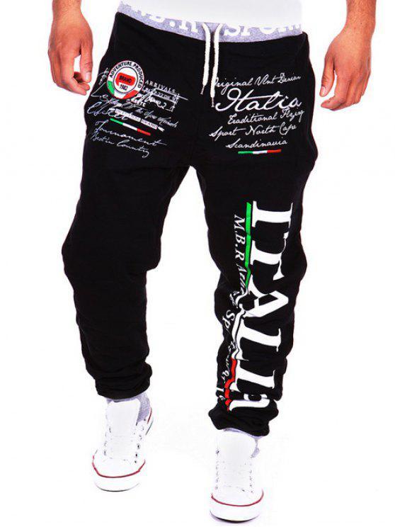 سروال جوغر بطبعة كتابة برباط - أسود 2XL
