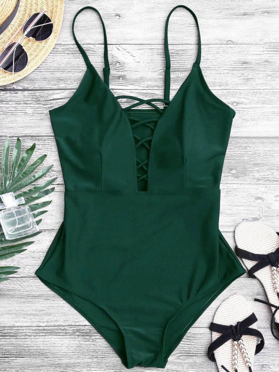 تشكيل تتقاطع يغرق قطعة واحدة ملابس السباحة - أخضر L
