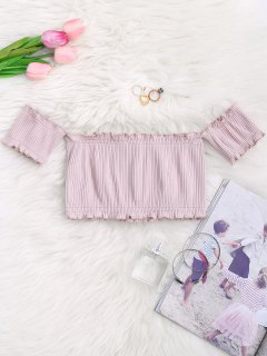 Off Shoulder Rib Textured Ruffled Crop Top - Pale Pinkish Grey