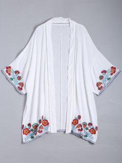 Embroidered Open Front Kimono Blouse - White L