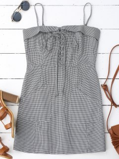 Houndstooth Lace Up Slip Mini Dress - Checked S