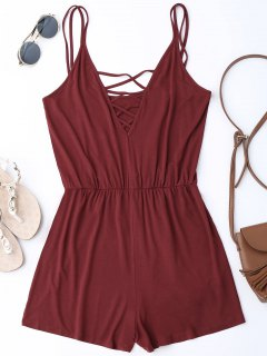 Strappy Criss Cross Cotton Romper - Wine Red S