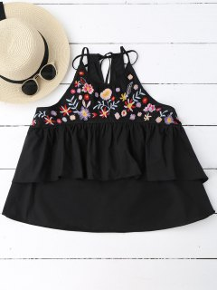 Loose Sleeveless Layered Embroidered Top - Black S