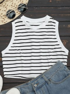Sports Cropped Stripes Tank Top - Stripe S