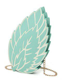 Summer Chain Strap Leaf Crossbody Bag - Blue Green