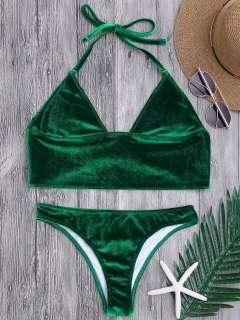 Longline Bikini Top And High Leg Bottoms - Green S