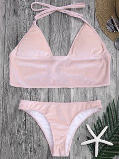 Longline Bikini Top And High Leg Bottoms - Pink L