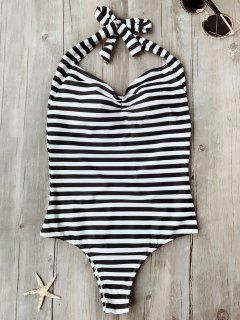 Open Back Striped Padded One Piece Swimsuit - White And Black M